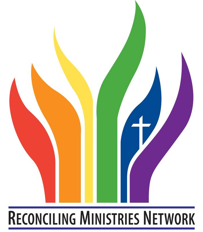 The Reconciling Ministries Network Logo - Rainbow Flames of Red, Orange, Yellow, Green, Blue surrounding a white cross, and purple